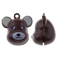 Messing Glocke Anhänger, Cartoon, Spritzlackierung, dunkle Kaffee-Farbe, frei von Nickel, Blei & Kadmium, 23x24x18mm, Bohrung:ca. 1.5mm, 50PCs/Tasche, verkauft von Tasche