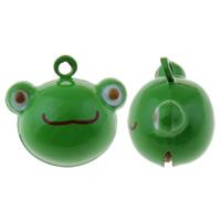 Messing Glocke Anhänger, Frosch, Spritzlackierung, grün, frei von Nickel, Blei & Kadmium, 21x20x15mm, Bohrung:ca. 1.5mm, 50PCs/Tasche, verkauft von Tasche