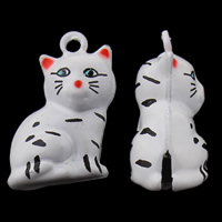 Messing Glocke Anhänger, Katze, Spritzlackierung, frei von Nickel, Blei & Kadmium, 16x23x12mm, Bohrung:ca. 1.5mm, 50PCs/Tasche, verkauft von Tasche