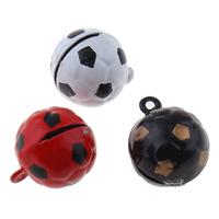 Messing Glocke Anhänger, Fussball, Spritzlackierung, keine, frei von Nickel, Blei & Kadmium, 18x21x18mm, Bohrung:ca. 1.5mm, 50PCs/Tasche, verkauft von Tasche