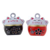 Messing Glocke Anhänger, Katze, Spritzlackierung, keine, frei von Nickel, Blei & Kadmium, 18x18x16mm, Bohrung:ca. 1.5mm, 50PCs/Tasche, verkauft von Tasche