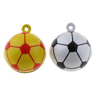 Messing Glocke Anhänger, Fussball, Spritzlackierung, zweifarbig, keine, frei von Nickel, Blei & Kadmium, 26x30x26mm, Bohrung:ca. 1.5mm, 50PCs/Tasche, verkauft von Tasche