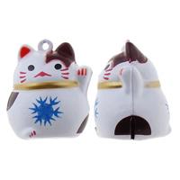 Messing Glocke Anhänger, Vermögen-Katze, Spritzlackierung, frei von Nickel, Blei & Kadmium, 26x31x23mm, Bohrung:ca. 1.5mm, 50PCs/Tasche, verkauft von Tasche