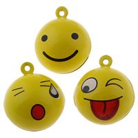 Messing Glocke Anhänger, rund, Spritzlackierung, verschiedene Muster für Wahl, gelb, frei von Nickel, Blei & Kadmium, 26x30x26mm, Bohrung:ca. 1.5mm, 50PCs/Tasche, verkauft von Tasche