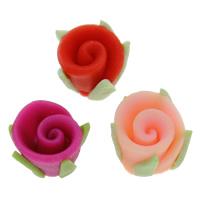 Polymer Ton Perlen , Blume, handgemacht, gemischte Farben, 10mm, Bohrung:ca. 1-1.5mm, 100PCs/Tasche, verkauft von Tasche