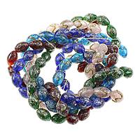 Goldsand & Silberfolie Lampwork Perlen, oval, Goldsand und Silberfolie, keine, 16x11mm, Bohrung:ca. 2.5mm, Länge:ca. 15 ZollInch, 10SträngeStrang/Menge, ca. 25PCs/Strang, verkauft von Menge