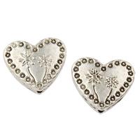 Zinklegierung Herz Perlen, antik silberfarben plattiert, frei von Nickel, Blei & Kadmium, 13x12x4mm, Bohrung:ca. 1mm, ca. 505PCs/kg, verkauft von kg