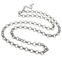 Eiserne Halskette Kette, Eisen, mit Verlängerungskettchen von 8cm, Platinfarbe platiniert, Rolo Kette, frei von Nickel, Blei & Kadmium, 8x8x2mm, verkauft per ca. 29 ZollInch Strang