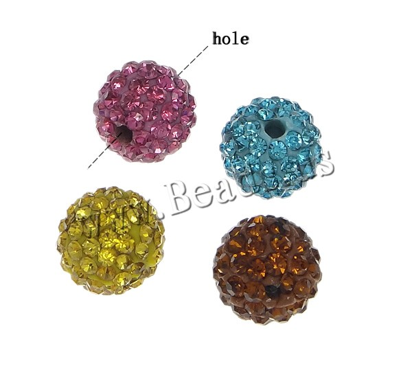 Buy Half Drilled Rhinestone Beads Clay Pave Round 10rhinestone & Mideast rhinestone & half-drilled mixed colors 12mm Hole:Approx 1mm 10PCs/Bag Sold Bag