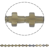 Natürliche graue Achat Perlen, Grauer Achat, Kreuz, 12x16x5mm, Bohrung:ca. 1mm, ca. 25PCs/Strang, verkauft per ca. 16.5 ZollInch Strang