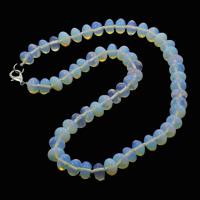 Meer Opal Halskette, Zinklegierung Karabinerverschluss, Rondell, 10x6mm, verkauft per ca. 18 ZollInch Strang