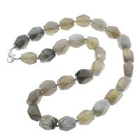Grauer Achat Halskette, Zinklegierung Karabinerverschluss, natürlich, facettierte, 10x14mm, verkauft per ca. 18 ZollInch Strang