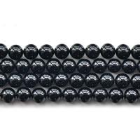 Natürliche schwarze Achat Perlen, Schwarzer Achat, rund, verschiedene Größen vorhanden, Grade AAAAA, Länge:ca. 15 ZollInch, verkauft von Menge