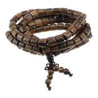 108 Mala Perlen, Huhn Wingwood, mit elastischer Faden, buddhistischer Schmuck & 5-litzig, 8x8mm, 6.5mm, 8mm, 8x8mm, Länge:ca. 38 ZollInch, 10SträngeStrang/Menge, ca. 108PCs/Strang, verkauft von Menge
