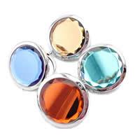 Zinklegierung Kosmetischer Spiegel, mit Kristall & Glas, Platinfarbe platiniert, facettierte, gemischte Farben, frei von Nickel, Blei & Kadmium, 70mm, 30PCs/Menge, verkauft von Menge
