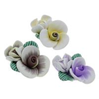 Polymer Ton Perlen , Blume, handgemacht, gemischte Farben, 25x32x11mm, Bohrung:ca. 1.5mm, 100PCs/Tasche, verkauft von Tasche