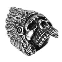 comeon® Finger-Ring, Edelstahl, Schädel, verschiedene Größen vorhanden & Schwärzen, 22x36mm, verkauft von PC