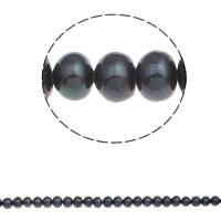 Button kultivierte Süßwasserperlen, Natürliche kultivierte Süßwasserperlen, Knopf, schwarz, 8-9mm, Bohrung:ca. 0.8mm, verkauft per ca. 14.7 ZollInch Strang