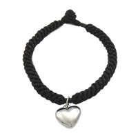 Nylonschnur Armbänder, mit Edelstahl, Herz, Armband  Bettelarmband, schwarz, 16x15x5mm, 6.5mm, verkauft per ca. 8.5 ZollInch Strang