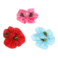 Mode Dekoration Blumen, Satinband, mit ABS-Kunststoff-Perlen, gemischt, 26x11-32x7mm, 100PCs/Tasche, verkauft von Tasche