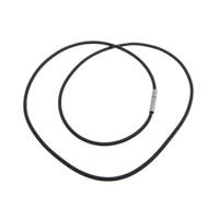 Mode Halskette Schnur, Gummi, Messing Bajonettverschluss, Platinfarbe platiniert, schwarz, 2mm, 14x3mm, verkauft per ca. 18 ZollInch Strang