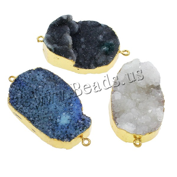 Buy Druzy Connector Ice Quartz Agate Brass gold color plated druzy style & mixed & 1/1 loop 27x45x9mm-33x52x13mm Hole:Approx 2mm 10PCs/Bag Sold Bag