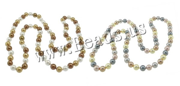 Buy South Sea Shell Necklace Round mixed colors 10mm Length:Approx 35 Inch 3Strands/Bag 88PCs/Strand Sold Bag