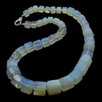 Meer Opal Halskette, Zinklegierung Karabinerverschluss, Zylinder, frei von Nickel, Blei & Kadmium, 9-16mm, verkauft per ca. 18.5 ZollInch Strang