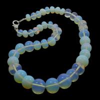 Meer Opal Halskette, Zinklegierung Karabinerverschluss, Rondell, 10-18mm, verkauft per ca. 18 ZollInch Strang