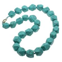 Mode Türkis Halskette, Natürliche Türkis, Zinklegierung Karabinerverschluss, natürlich, blau, 11-22mm, verkauft per ca. 18 ZollInch Strang