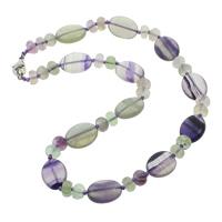 Quarz Halskette, Natürlicher Quarz, Zinklegierung Karabinerverschluss, flachoval, natürlich, farbenfroh, 8x5mm, 13x18x6mm, verkauft per 17 ZollInch Strang
