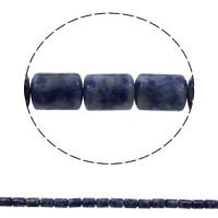 Blauer Tupfen Stein Perlen, blauer Punkt, Zylinder, natürlich, 10x14mm, Bohrung:ca. 1mm, ca. 28PCs/Strang, verkauft per ca. 15.7 ZollInch Strang