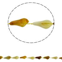 Natürliche gelbe Achat Perlen, Gelber Achat, Blatt, 16x28x8mm, Bohrung:ca. 1mm, ca. 12PCs/Strang, verkauft per ca. 16.5 ZollInch Strang