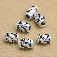 Bali Sterling Silber Perlen, Thailand, Zylinder, hohl, 6x4mm, Bohrung:ca. 1-3mm, 45PCs/Menge, verkauft von Menge