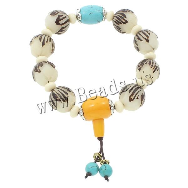 Buy Wrist Mala Bodhi Root Ox Bone & nylon elastic cord & rhinestone brass spacer & turquoise & Resin & Zinc Alloy Round Buddhist jewelry 16x16mm 13x18mm 17mm Length:Approx 7.5 Inch 5Strands/Bag 10PCs/Strand Sold Bag