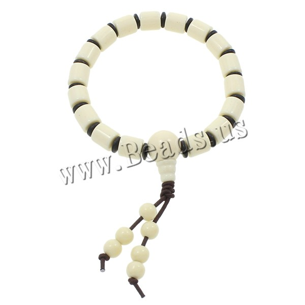 Buy Wrist Mala Resin Ox Bone & nylon elastic cord & Coco Column Buddhist jewelry white 8x8mm Length:Approx 7.5 Inch 20Strands/Bag 17PCs/Strand Sold Bag
