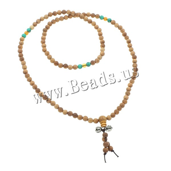Buy 108 Mala Beads Chicken Wingwood nylon elastic cord & turquoise & Glass & Zinc Alloy Round Buddhist jewelry yellow 6mm 17x9mm Length:Approx 23.5 Inch 10Strands/Bag 108PCs/Strand Sold Bag