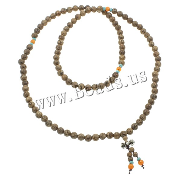 Buy 108 Mala Beads Aloewood nylon elastic cord & turquoise & Yellow Agate & Zinc Alloy Round Buddhist jewelry coffee color 7mm 8mm 16x8mm Length:Approx 31.5 Inch 5Strands/Bag 108PCs/Strand Sold Bag