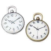 Zinklegierung Uhr Anhänger, Wecker, plattiert, Emaille, keine, frei von Nickel, Blei & Kadmium, 20x26x3mm, Bohrung:ca. 5x2mm, 2Taschen/Menge, 5PCs/Tasche, verkauft von Menge