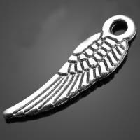 Flügel Zinklegierung Anhänger , Flügelform, antik silberfarben plattiert, frei von Nickel, Blei & Kadmium, 5x16.80mm, Bohrung:ca. 2-3mm, 2000PCs/Menge, verkauft von Menge