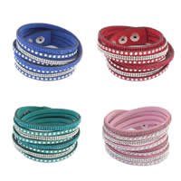 Slake Armband, Zinklegierung, mit Baumwollsamt, Platinfarbe platiniert, mit Strass & 2 strängig, keine, 19mm, verkauft per ca. 15.6 ZollInch Strang