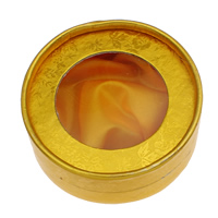 Karton Armbandkasten, mit Seide, flache Runde, gelb, 85x37mm, 12PCs/Tasche, verkauft von Tasche
