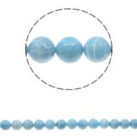 Larimar Perle, rund, natürlich, verschiedene Größen vorhanden, Bohrung:ca. 1.5mm, verkauft per ca. 15.3 ZollInch Strang