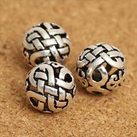 Bali Sterling Silber Perlen, Thailand, rund, hohl, 10mm, Bohrung:ca. 1.2mm, 15PCs/Menge, verkauft von Menge