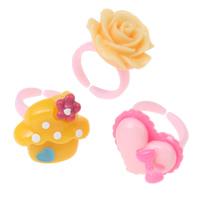 Kinder Finger Ring, Harz, mit Kunststoff, für Kinder & gemischt, 17x14x26mm-19x18x28mm, Größe:2.5, 5BoxenFeld/Menge, 36PCs/Box, verkauft von Menge