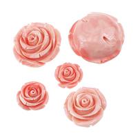Riesenmuscheln Perlen, Riesenmuschel, Blume, geschnitzt, verschiedene Größen vorhanden, Rosa, verkauft von Menge
