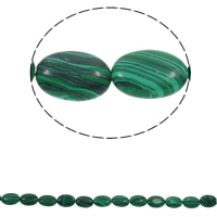 Malachit Perle, flachoval, synthetisch, 13x18x5mm, Bohrung:ca. 1.5mm, ca. 22PCs/Strang, verkauft per ca. 15.3 ZollInch Strang