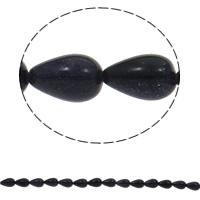 Blaue Goldstein Perlen, blauer Goldsand, Tropfen, natürlich, 8x13mm, Bohrung:ca. 1.5mm, ca. 33PCs/Strang, verkauft per ca. 16.5 ZollInch Strang