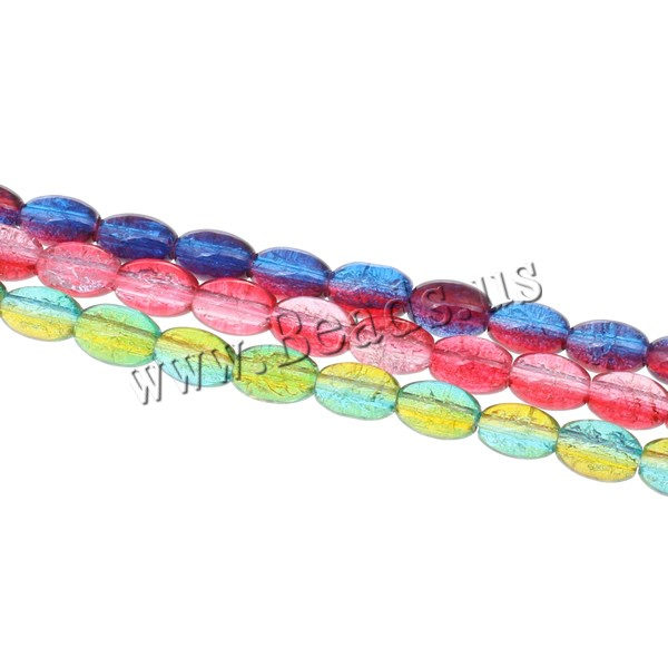 Buy Crackle Glass Beads Oval two tone mixed colors 10x7mm Hole:Approx 1mm Length:Approx 32.2 Inch 10Strands/Bag Approx 78PCs/Strand Sold Bag