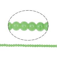 Mode Glasperlen, Glas, rund, hellgrün, 6mm, Bohrung:ca. 1mm, Länge:ca. 31.4 ZollInch, 10SträngeStrang/Tasche, ca. 148PCs/Strang, verkauft von Tasche